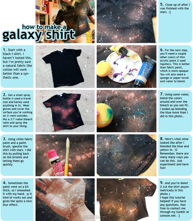 How to Make a Galaxy Shirt As promised, here is the tutorial to make the galaxy shirt :]] what inspired this shirt in the first place was a ...