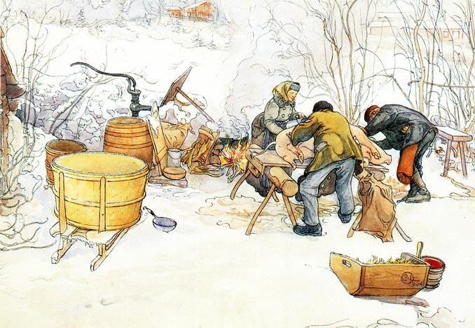 The Slaughter, aquarelle de Carl Larsson (1853-1919, Sweden)