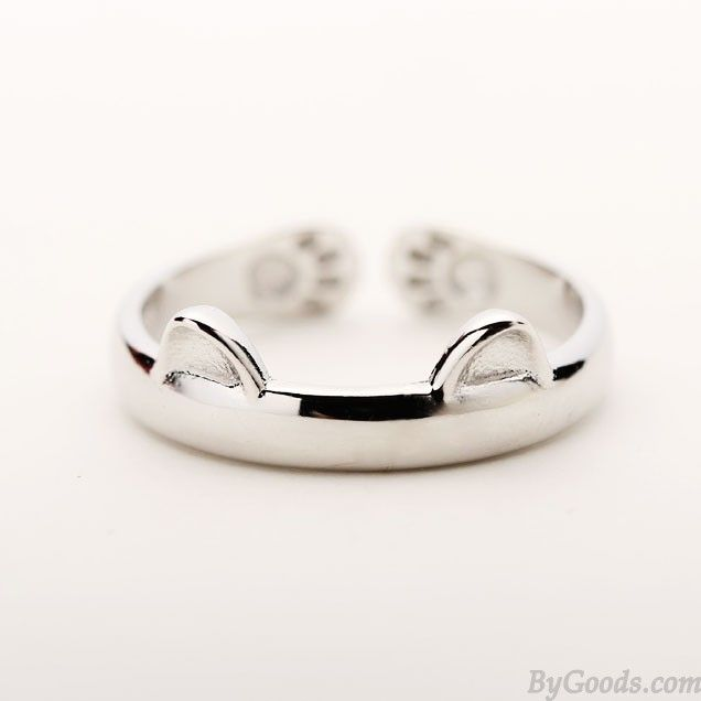 Cute Cat Ears Catlike Embossing Animals Silver Matte Brief Opening Ring only $14.99 in ByGoods.com!