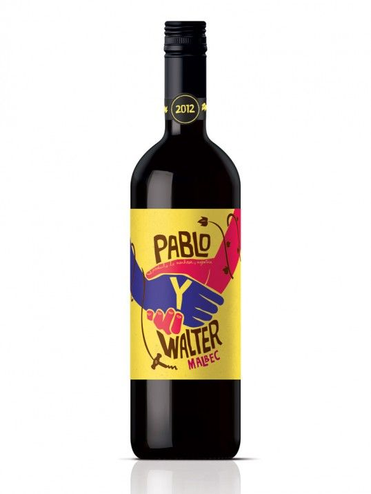 """Designed by Biles Inc.   Country: United Kingdom    """"Leading UK wine distributor and producer BOUTINOT, has unveiled a new exciting Argentinean Malbec from Mendoza called Pablo y Walter, with all new packaging created by London award winning design agency, Biles Inc."""