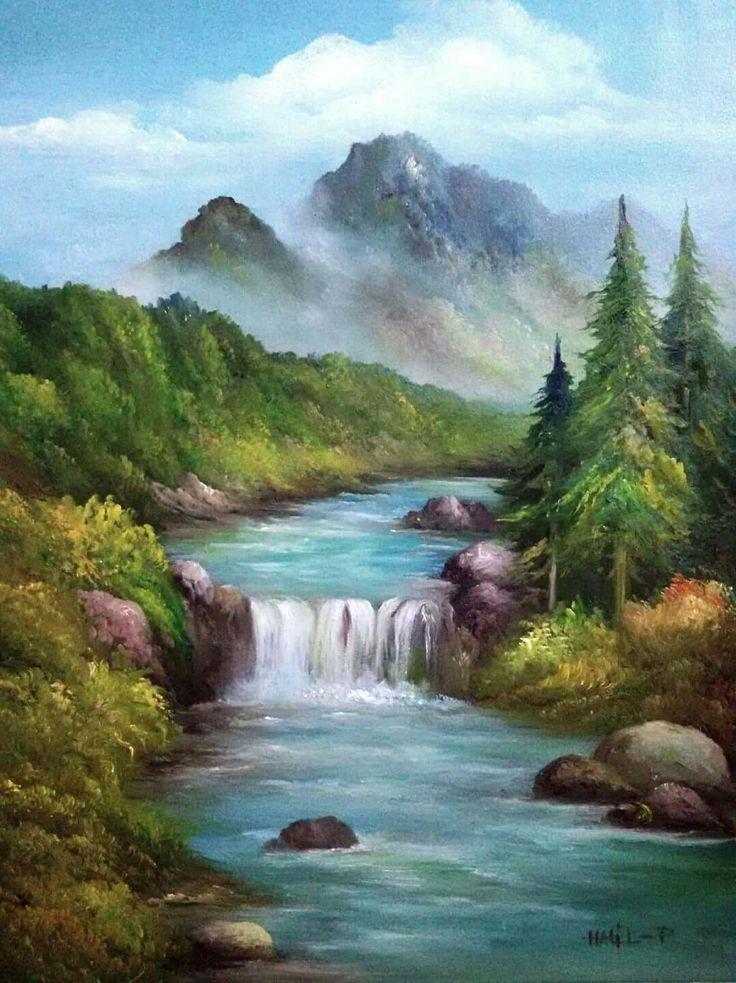 Cascada Cascada Cuadros De Paisajes Lugares Hermosos Paisaje Increibles P La Mejor Imagen In 2020 Landscape Canvas Waterfall Paintings Watercolor Landscape
