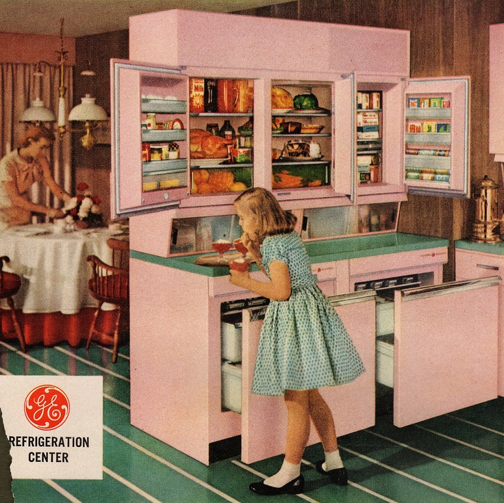 1957 GE Refrigeration Center Eye-Level General Electric Wall Refrigerator-Freezer plus two Roll Out Freezers. Put all foods within easy reach, and provide 21-cubic foot cabin space. - Via