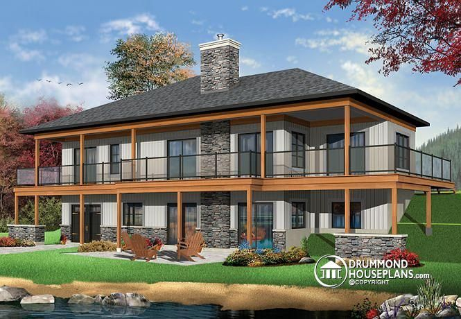 W3967 lakefront house plan 4 bedrooms open floor plans for Waterfront house plans walkout basement