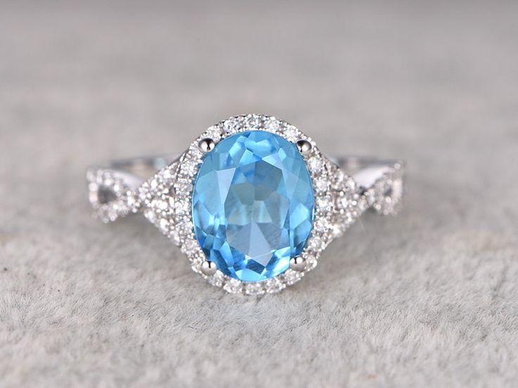 3.68ctw Oval Sky Blue Topaz Engagement ring,VS Diamond wedding band,14K Gold,Gemstone Promise Ring,Bridal Ring,IF Blue,Twist Curved by popRing on Etsy