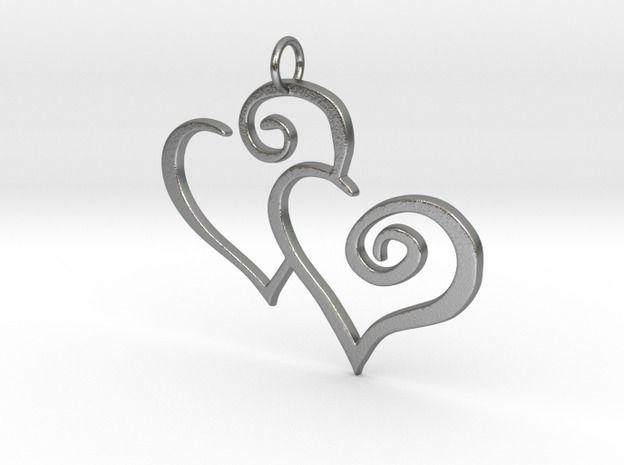 2-Heart Charm Pendant 3d printed raw #silver  #pendant #charm #gift