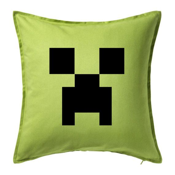 """Minecraft Inspired Bedroom Pillow for my little guy! I also used this for a birthday """"signing"""" pillow! Fabric pens rock! I designed and printed for my little guys birthday! I make all kinds of custom invitations plus more! Contact me at info@fox-t.com. Thanks!"""