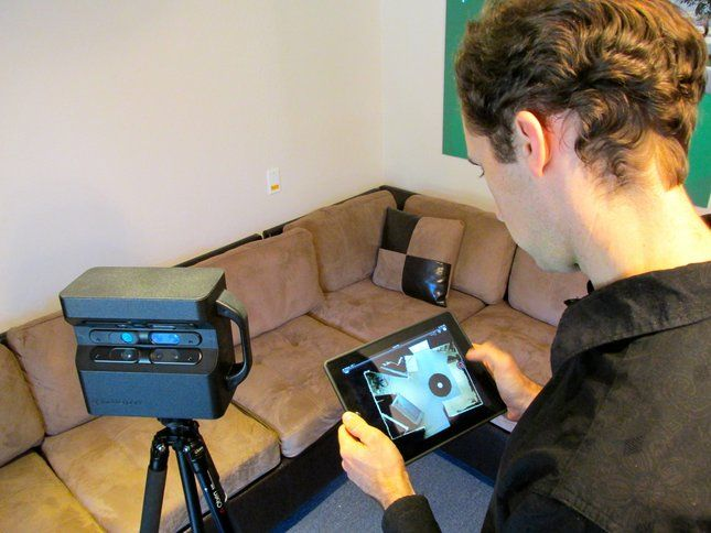 Matterport's iPad app displays and in-progress model using pictures transferred wirelessly from its camera system (left).Matterport camera incorporates 3x Microsoft Kinect sensors for 3-D mapping