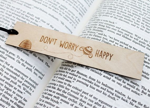Don't Worry Bee Happy  Wooden Engraved by IngrainedInc on Etsy