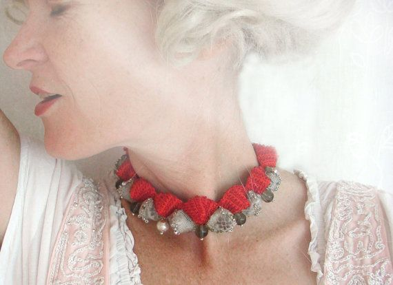 ruby b.  a red and silver textile choker by rubybarocko on Etsy, $90.00