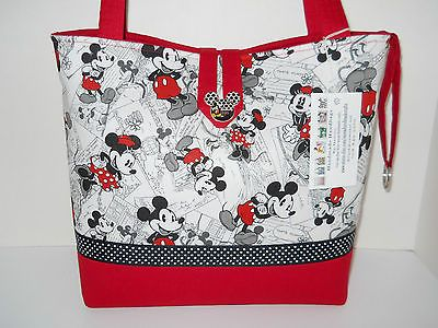 Handbag Tote Purse made w/Mickey and Minnie Mouse comic fabric Handmade Large $32.00 SOLD! Will be making more soon.