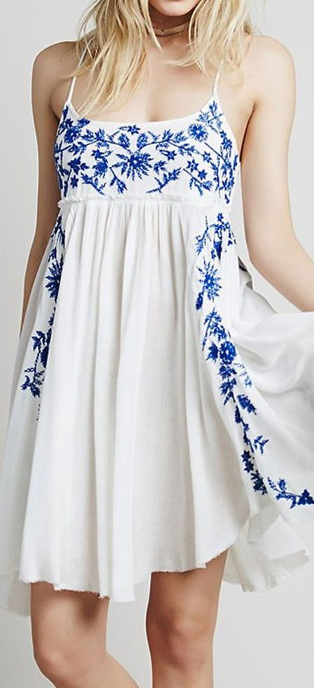 White summer dress with blue embroidery - so cute with wedges and a cute purse!
