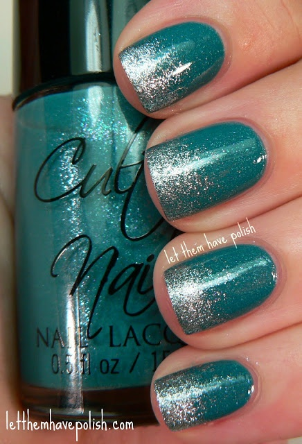 Teal and silver nails.