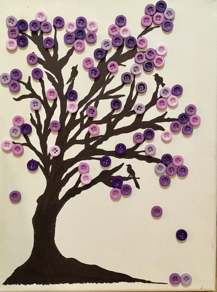 tree silhouette on canvas with buttons projects to try. Black Bedroom Furniture Sets. Home Design Ideas
