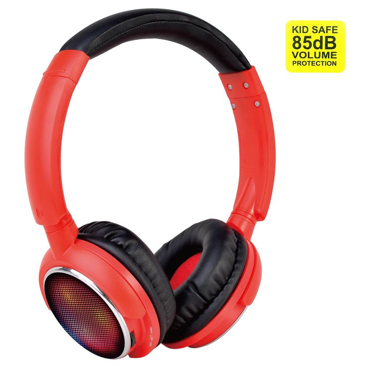 Contixo KB-300 Kid Safe 85DB Over the Ear Wireless Bluetooth LED Headphone with Volume Limiter, Built-in Microphone, Micro SD, FM Stereo Radio, Audio Input, Red + Black. High Definition Stereo Headphones, Noise Isolation Ear Cups, Dynamic Sound and Deep Bass, High Quality and Power Sound, Extreme High End Audio Quality. Built-in Volume Limiting Safe for Children: Volume limited to 85dB. Lightweight(4.8oz), wearing comfortable with the soft ear-pads and ergonomically designed head beam...