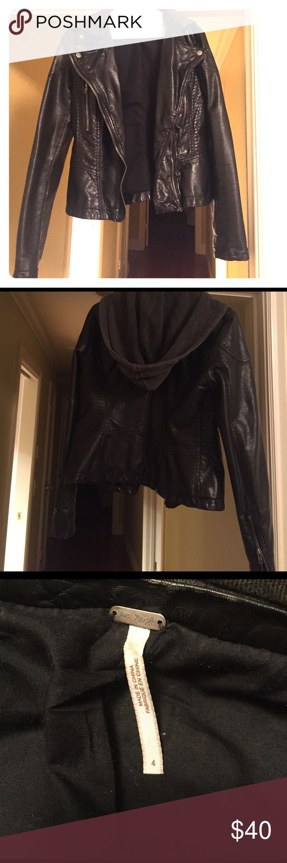 Free People Vegan Hooded Leather Jacket Size 4 jacket. Only wore a handful of times, I ended up buying a smaller size. It is perfect condition with the exception of a small tear in the inside armpit sleeve area. See the photo for reference. Free People Jackets & Coats