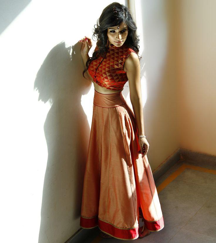 Copper Cotton Silk Skirt With Maroon Chanderi Brocade Crop Top