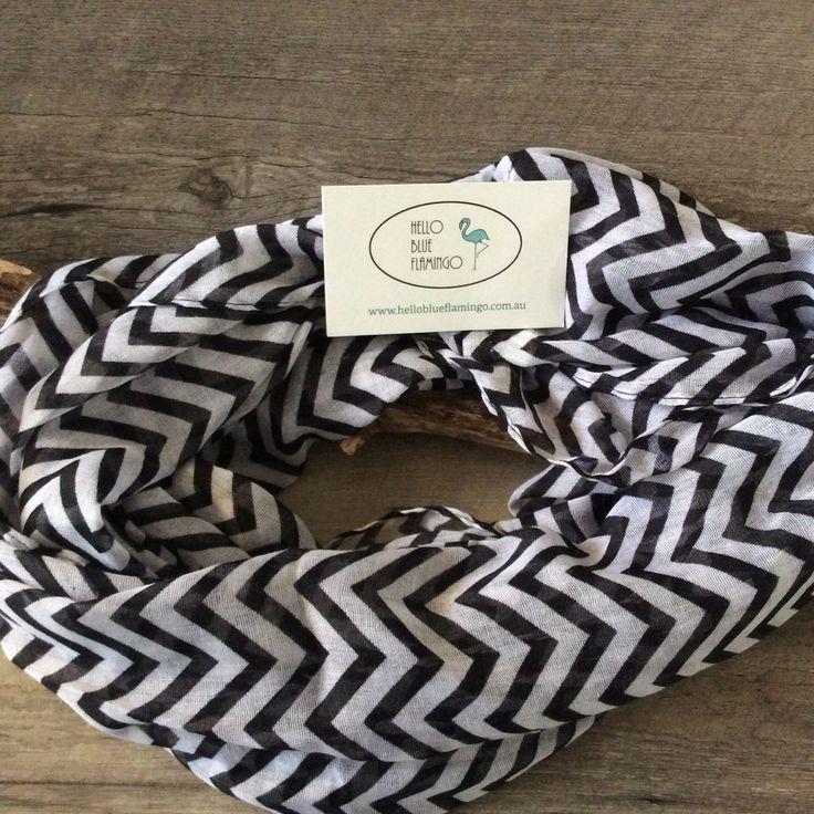 Scarf - Cotton - Black and White Chevron Infinity Scarf