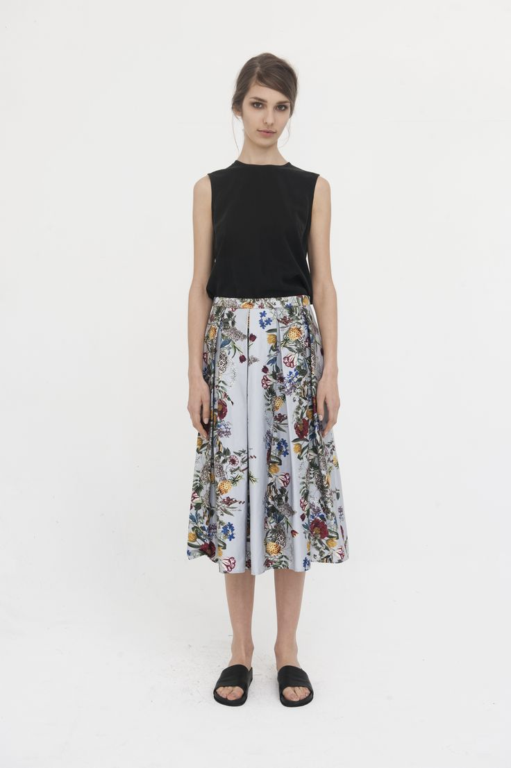 + Lisbon Sleeveless Silk Tee, Black   + Drifter Midi Skirt, Botanical Print