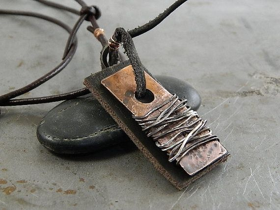Boxing Week Sale 20% OFF! Wire Wrapped Copper and Leather Tag Handmade Necklace Jewelry for Men