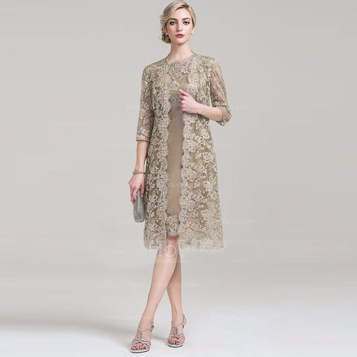 Mother Of The Bride Outfits With Lace Long Jacket Wedding Evening Formal Dress