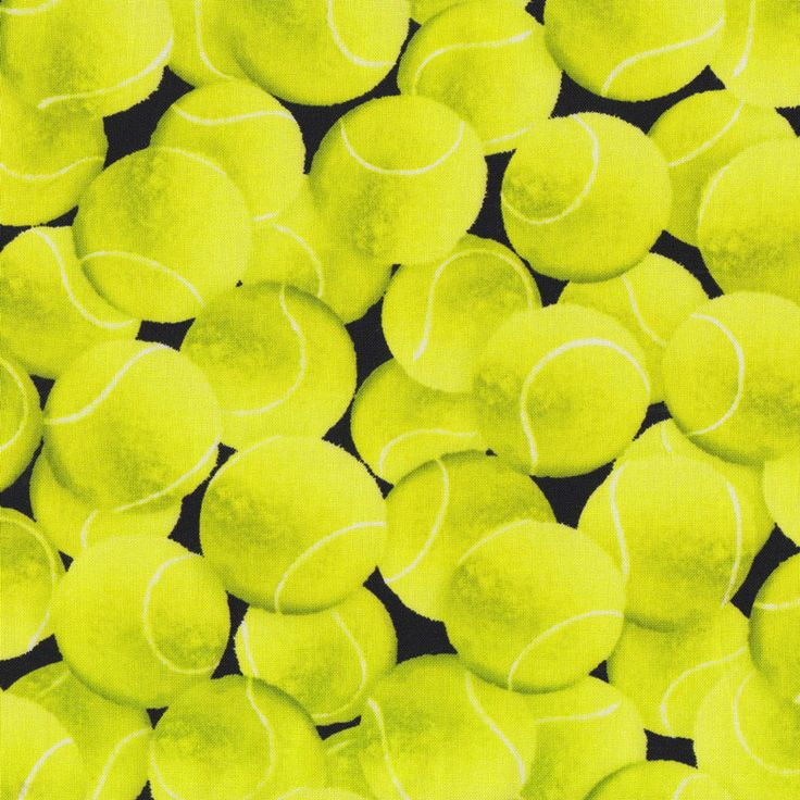 Green Tennis Balls on Black Ladies Sport Quilt Fabric - Find a Fabric - Available to purchase in Fat Quarters, Half Metre, 3/4 Metre, 1 Metre and so on.
