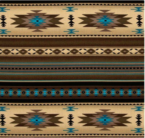 Sepia Turquoises Teal Blanket Stripe Fabric Southwest Designs