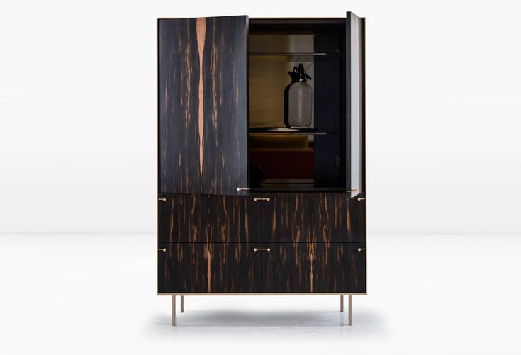 Ingemar Cabinet or Dining Hutch or High Boy in African Ebony and Bronze 3