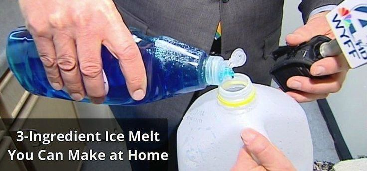 3-Ingredient Ice Melt You Can Make at Home  Here's the simple 3-ingredient recipe:  -1/2 a gallon of warm water -6 drop of liquid dish detergent -2 ounces of rubbing alcohol  Mix together in a milk jug and you're good to go!