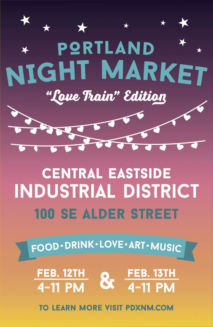 The Portland Night Market poster for the love train edition of the event.