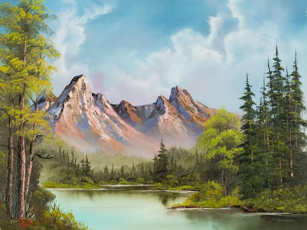 bob ross art gallery | ... > bob ross paintings > bob ross crimson mountains 86005 painting