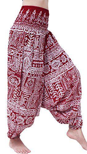 RaanPahMuang Rayon Smock Top Fabric Artwork Harem Hippie Jumpsuit Aladdin Pants Medium Islander Crosshatch  Dark Red ** Visit the image link more details.