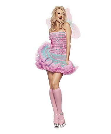 This Pink & Blue Ruffle Fairy Costume Set - Women is perfect! #zulilyfinds