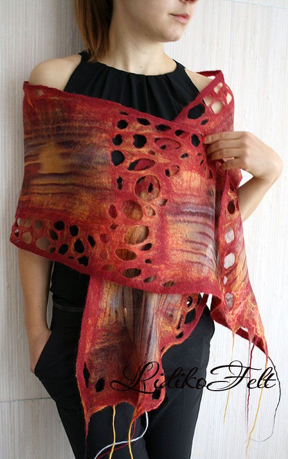 Nuno Felted Silk Scarf Shawl Wrap RED ORANGE Fiery colored fringed scarf wrap, hand felted of natural silk fabric fused with very thin layers of