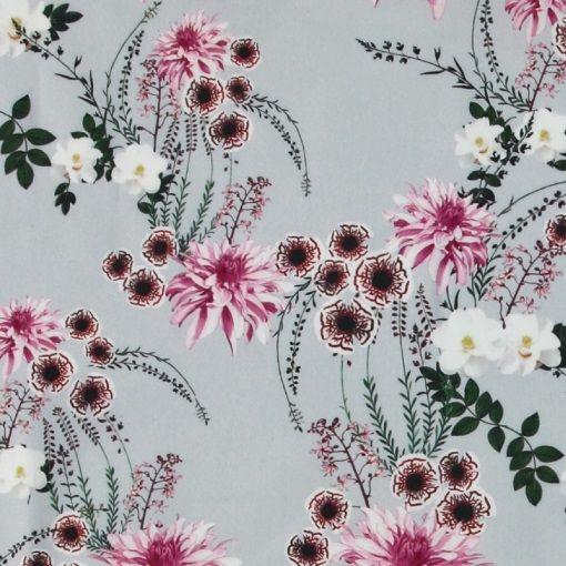 Vävd bomullsatin lj.grå m japansk blomma - STOFF & STIL