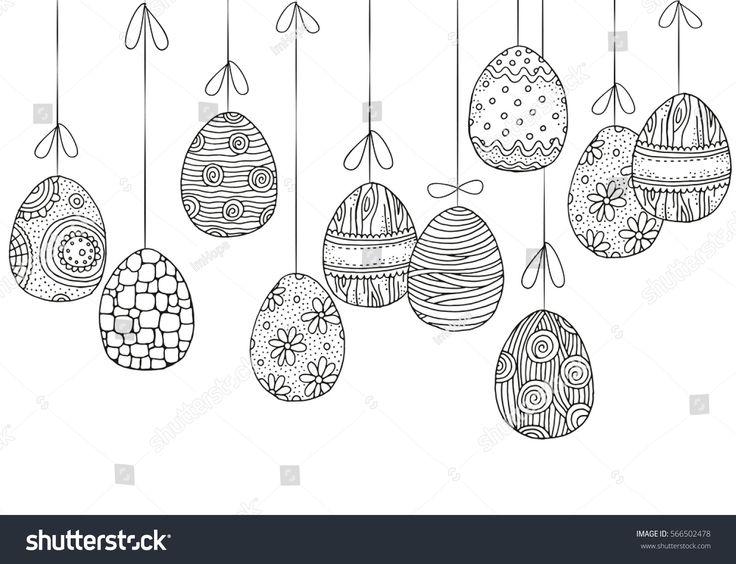 Hintergrund mit hängenden Ostereiern. Von Hand gezeichnete dekorative Elemente im Vektor. P …