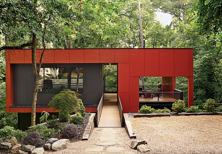 """On a sloped creekside site in <a href=""""http://www.dwell.com/travel/atlanta-georgia"""">Atlanta, Georgia</a>, architect Staffan Svenson elevates humble materials and basic geometries to craft an affordable modern home."""