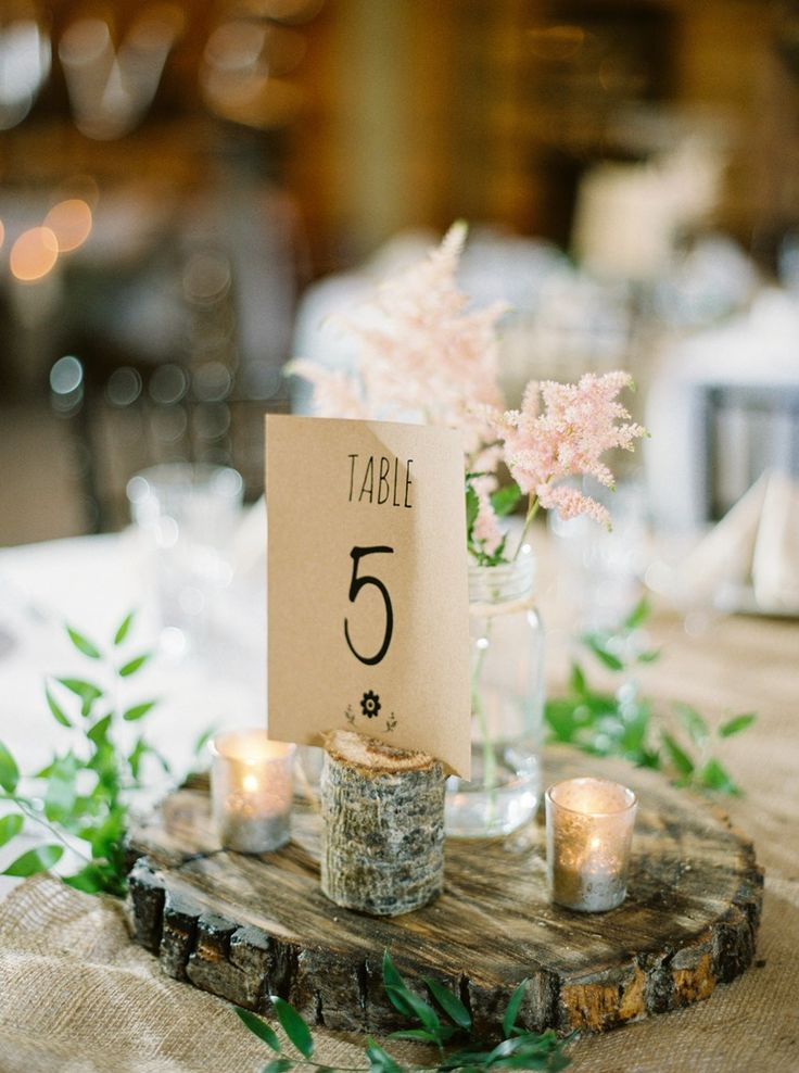 Romantic Rustic Barn Wedding Reception Centerpiece