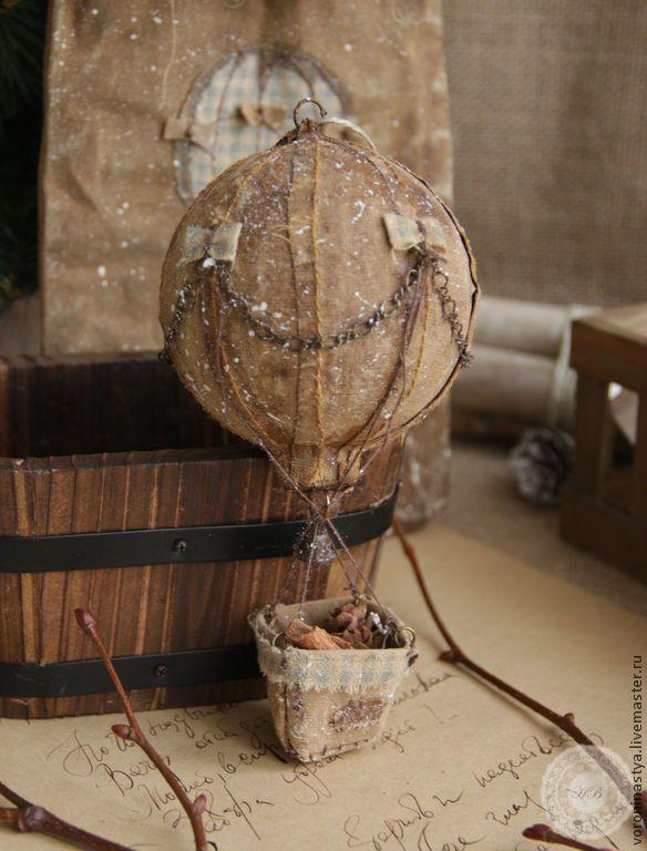 Купить Чердачный Воздушный шар - чердак, чердачные игрушки, рустикальный стиль, кофе, кофейные игрушки