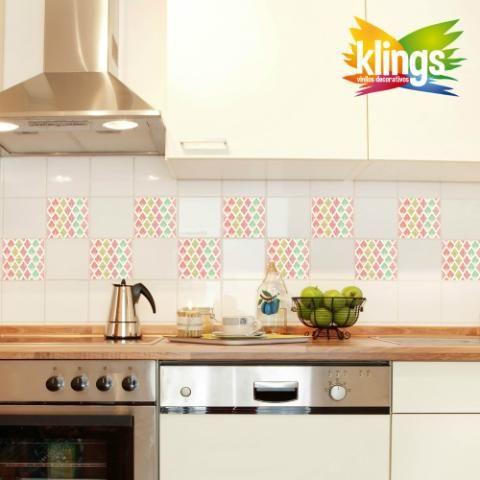 Vinilos Decorativos - Azulejos de 15 x 15 modelo ROMBOS.WALL STICKER DECOR. ROMBOS