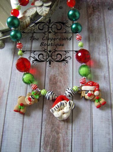 Polymer Clay Christmas Zebra Santa Reindeer by TheClaygroundCorner, $18.00