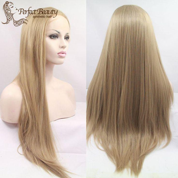 Vente chaude Longue Ligne Droite Perruque De Cheveux 27 Couleur Synthétique Lace Front Perruque Résistant À La Chaleur Cheveux Perruques Pour Les Femmes Noires
