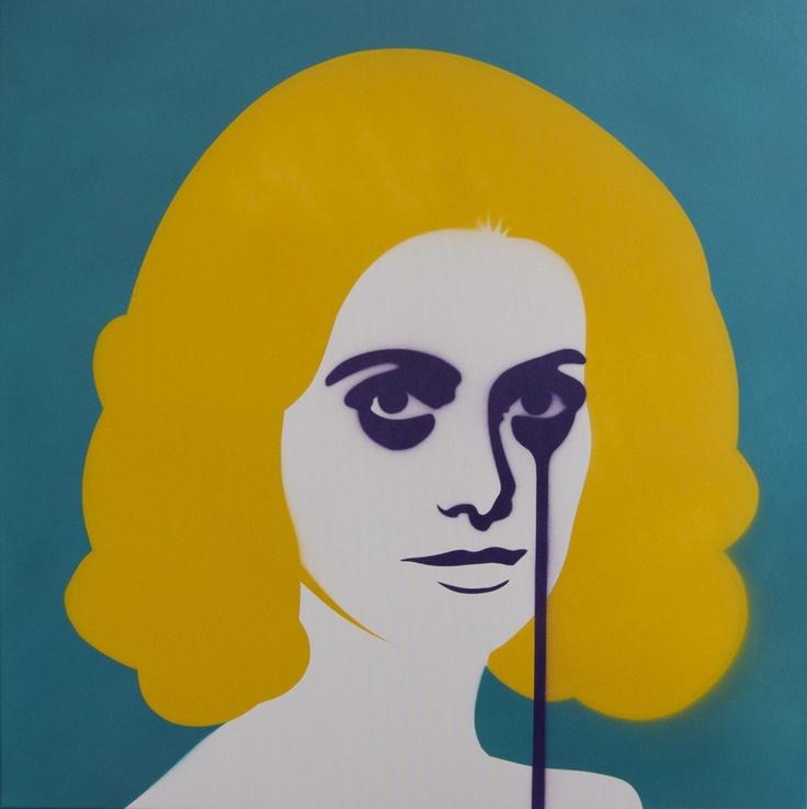"""Saatchi Online Artist: Pure Evil Bunny; Paint, 2011, Street Art """"David Bailey's Nightmare"""" #yellow #pop #art"""