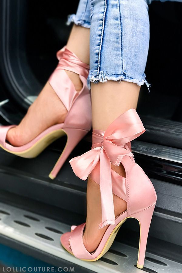 These high heels shoes feature a satin material, open toe, elegant bow tie look, a stiletto high heels shoes measures about 4 inches.