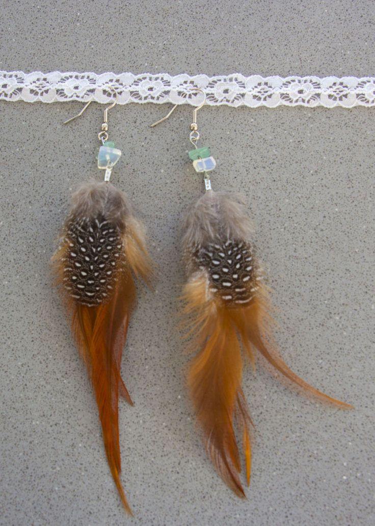 Veren oorbellen met edelsteentjes, Boho oorbellen met opaliet, Bohemian Earrings, Natuurlijke oorbellen, Natural earrings door BohoFestivalReady op Etsy