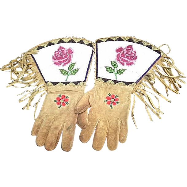 Vintage 1900's Old West Native Beaded Leather Gauntlets Gloves..