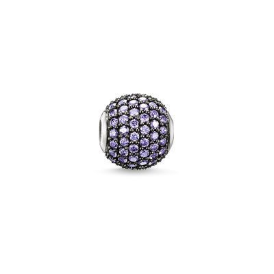 BEAD THOMAS SABO KARMA BEAD STERLING SILVER PAVE SET WITH LILAC CUBIC ZIRCONIA STONES - Jons Family Jewellers