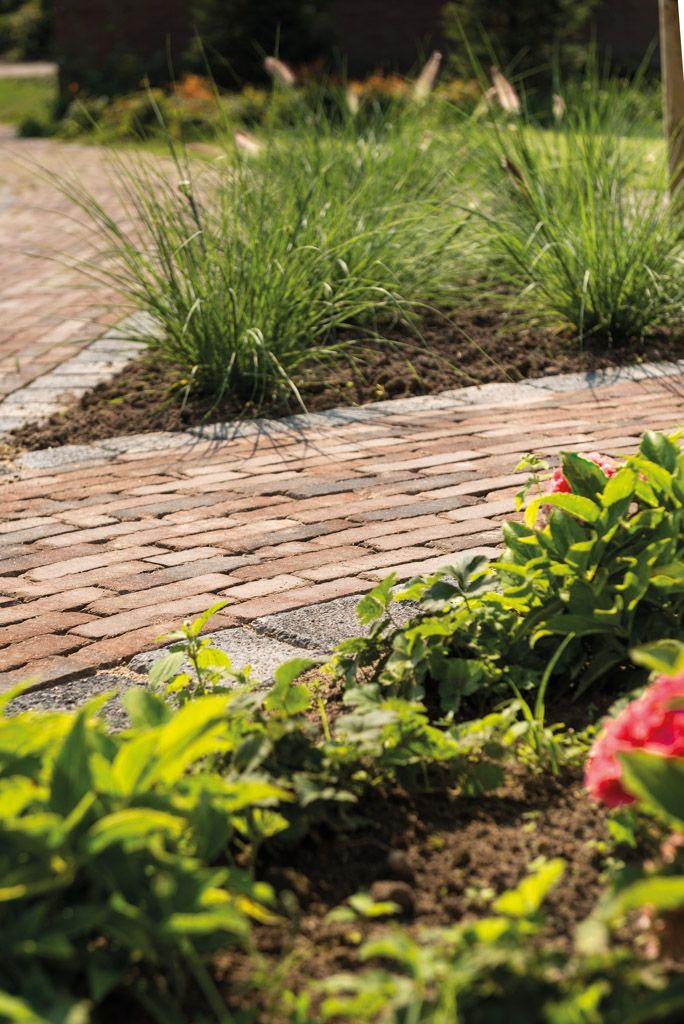 Mooi tuinpad van Terra Vulcano Antica gebakken klinkers met natuurstenen rollaag en grasplanten