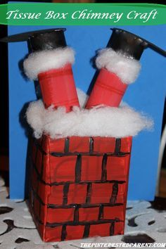 Tissue box chimney & Santa craft. Cute & easy craft for the kids