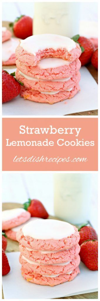 Easy Strawberry Lemonade Cookies Recipe | These pretty cake mix cookies are so fun to make!