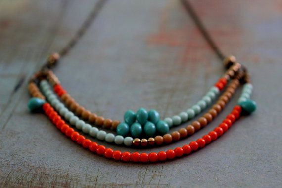 Tangerine and Turquoise Tribal Necklace  Czech by MySelvagedLife